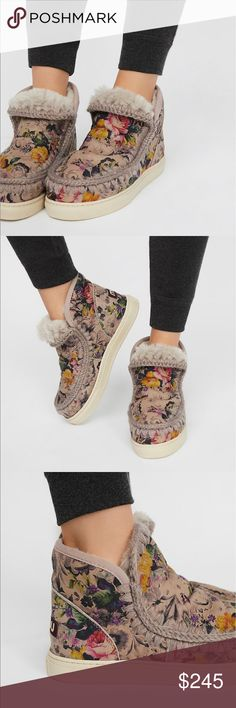MOU Mini Eskimo sneaker sz 41 Amazing gray/lavender leather with a vintage  floral print