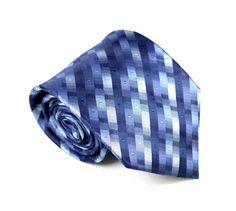 "Van Heusen Men's Necktie 3 3/4"" x 59"" Blue Gray Striped Silk Neck Tie Neckwear #VanHeusen #NecktieNeckTie"