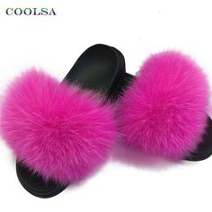600b7e26739d Coolsa Summer Women Fox Fur Slippers Real Fox hair Slides Female Furry  Indoor Flip Flops Casual Beach Sandals Fluffy Plush Shoes