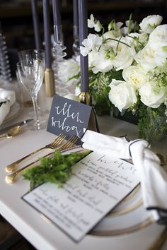 Bistro wedding place setting | Everest Road Photography | see more on: http://burnettsboards.com/2014/05/style-bistro-wedding-reception/ #placesetting