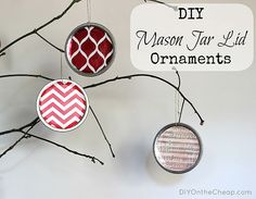 Mason jar lid Christmas ornaments - a simple, super easy, and eco-friendly craft idea!