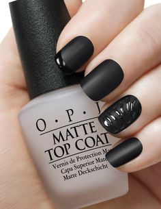 Matte black nails. I love my OPI matte top coat!! Can't wraith to use it on a dark color for the fall