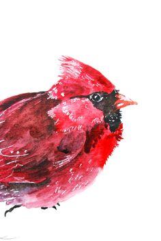 """Watercolor Painting, Bird Painting, Cardinal, Original Painting, 6""""x9"""" via Etsy"""