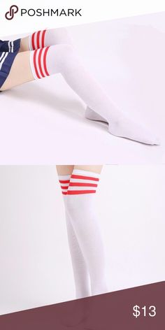 """Sexy thigh highs Brand new fashion  design,100% Brand New,high quality!  Materials: Cotton Thickness: Medium Quantity: 1 Pair white with blue stripes  One Size: (Fits Xs ~ L) Suitable Height: fits almost everybody  Socks Length: 24"""" (approx) Type: Over Knees Long Socks Accessories Hosiery & Socks"""