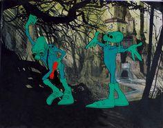 "An Ian Miller background for Ralph Bakshi's ""Wizards,"" via Corridor Gallery"