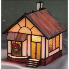 New Crystal Village Christmas Stained Glass House Electric Lamp Light on eBid United States
