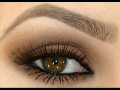 Light Brown Smokey Eye: Brown/Taupe/Nude Eyeshadow, Curled & Separated Upper Lashes with Two Coats of Mascara, Mascara on Lower Lashes, Black Eyeliner on Upper and Lower Lash Line, and Perfectly Groomed/Arched Brows.