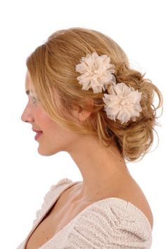 232 - ZOEY - Pair of silk organza mini flowers,  bridal, hair, fascinator, headpiece, clip. $98.00, via Etsy.