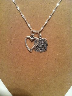 Firefighter Jewelry, Firefighter Necklace, Silver Necklace, Love My firefighter, Silver Fire Heart keepsake