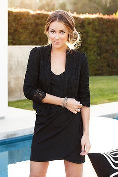 black blazer with dress and side bun