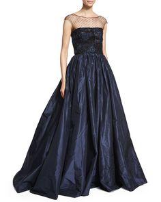 Embellished Patchwork-Lace Gown, Dark Navy, Size: 16 - Oscar de la Renta