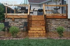 Front porch idea fir cedar platform with under stone