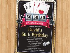 Casino 50th Birthday Invitation. Poker Playing Card. by arthomer