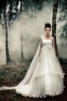 One Shoulder A-line Empire Tulle Overlay Wedding Dress with Handmade Flowers Detailed