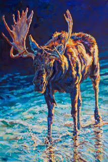 """Daily Painters Abstract Gallery: Colorful Contemporary Wildlife Art Moose Painting """"Vincent """"by Contemporary Animal Artist Patricia A. Griffin"""