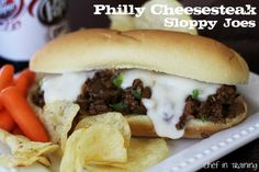 Philly Cheesesteak Sloppy Joes!  This sandwich is SO easy to make, tastes amazing and would be perfect for a game day!