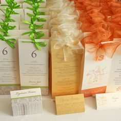 menu cards with table's number and seating cards
