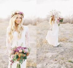 Hot Sale Country Style Bohemian Hippie Lace Wedding Dresses 2018 V Neck Long Sleeves Plus Size Custom Made Sheer Lace Boho Bridal Gowns Sheath Wedding Dress Lace Beaded Wedding Dress Country Wedding Dress Online with $158.86/Piece on Readygogo's Store | DHgate.com