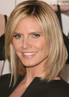 Heidi Klum's Stylish Medium Inverted Bob Hairstyles with Layers toward the Ends