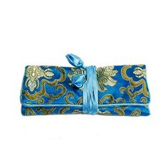 Turquoise Chinese Silk Brocade Travel Jewelry Roll Up Pouch