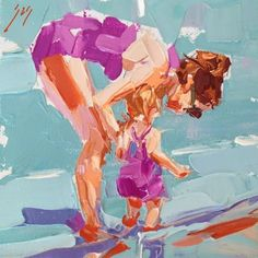 Mom and Me by Sally Shisler- June Palette Knife Workshop Information Contemporary and classical scenes of figures bathed in bright sunlight., painting by artist Sally Cummings Shisler