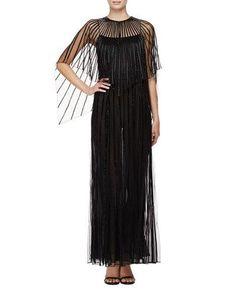 B36GE Zac Posen Capelet-Sleeve Illusion Gown, Black