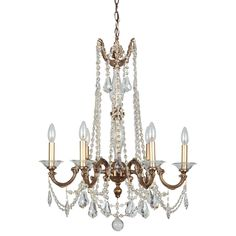 "View the Crystorama Lighting Group 2226-CL-MWP Delancey 6 Light 24"" Wide Cast Brass Candle Style Chandelier with Clear Hand Cut Crystal at LightingDirect.com."