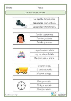 Alphabet Worksheets, Preschool Worksheets, Spanish Class, Spanish Lessons, Math For Kids, Reading Activities, Reading Comprehension, Kindergarten, Homeschool