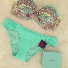 Swimwear: bikini victoria's secret gorgeous underwear pants blue light blue aqua summer yellow pink :)