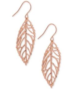 Giani Bernini Leaf Drop Earrings in 18k Rose Gold-Plated Sterling Silver, Only at Macy's - Gold