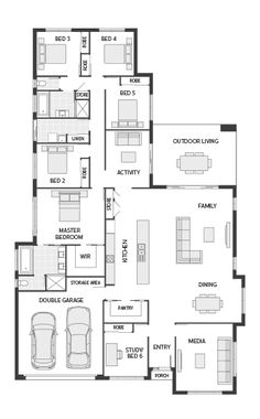 Coral Homes :: The Casuarina Series features Coral Homes :: The Casuarina Series features Sims House Plans, House Layout Plans, Best House Plans, Dream House Plans, House Layouts, House Floor Plans, 5 Bedroom House Plans, Family House Plans, Casa Versace