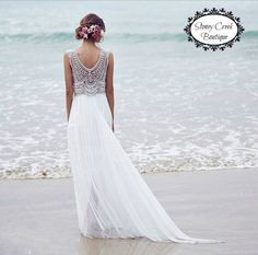 SALE White Lace A-Line Wedding Dress V by StoneyCreekBoutiques