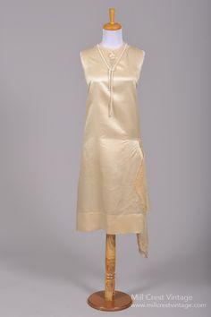 1920 Silk Satin Pearl Vintage Wedding Dress : Mill Crest Vintage