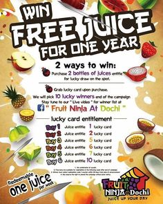 "Wanna Win FREE FRUIT JUICE for ONE YEAR? . Just follow the step below.  Fruit Ninja @Dochi is coming to you this week at IOI City Mall in Putrajaya on 26th August 2017 at 12noon. Join in the fun & redeem your free bottle of yummy Fruit Ninja Juice!  HOW TO REDEEM YOUR FREE BOTTLE OF JUICE  Time: 12noon  Share ""Win Free Juice For One Year"" Poster from Fruit Ninja at Dochi FB Page & Tag 5 friends. (Set Post to Public)  Shared Post to Fruit Ninja crew for verification.  Redeem One Free Juice…"