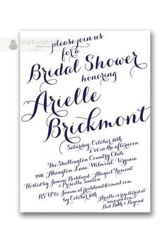 Modern Script Bridal Shower Invitation Calligraphy Navy & White Invitation Handwritten Script Printable DIY or Printed - Arielle Style on Etsy, $20.00