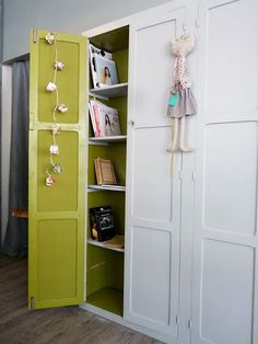 Love the idea of brightening cupboard insides! -- ugly panel cupboards in laundry room