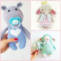 Kombi English only 3 amigurumi patterns Baby Hippo