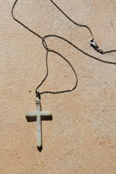 """18"""" Jade cross and sterling silver necklace by seadragongems on Etsy"""