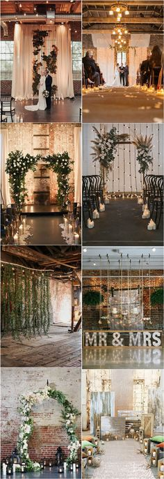 Rustic Indoor Industrial Wedding Backdrop #weddings #weddingideas #countryweddings #weddingarches ❤️ http://www.deerpearlflowers.com/industrial-wedding-ceremony-backdrop-ideas/