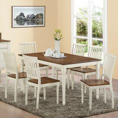 Home Styles Monarch 7 Piece Dining Table Set With 6 Double X Back Chairs    White U0026 Oak | White Oak, Kitchen Redo And Modern Farmhouse