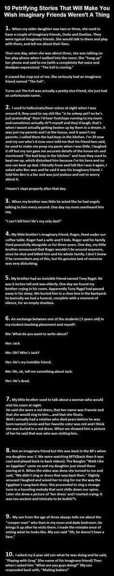 10 petrifying stories that will make you wish imaginary friend weren't a thing