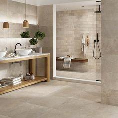 tiles Rustic Dom Ceramiche Mas de Provence Ecru x c. Beige Bathroom, Bathroom Floor Tiles, Bathroom Interior, Wall Tiles, Stone Tile Flooring, Stone Tiles, Bad Inspiration, Bathroom Inspiration, Baño Color Beige