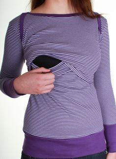 Oberteile & Kleider - Umstands& Stillshirt Breton violett/lila gestreift - ein Designerstück von AgnesH bei DaWanda