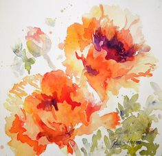 Red Oriental Poppies Original Watercolor Painting Small by rsharts