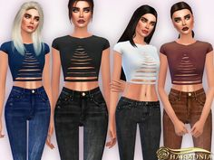The Sims Resource: Ripped Shortsleeve Crop T Shirt by Harmonia • Sims 4 Downloads