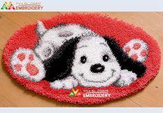 3D Latch Hook Rug Kits DIY Needlework Unfinished Crocheting Rug Yarn Cushion Mat Embroidery Carpet Rug Playful Puppy Home Decor