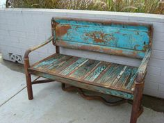 This bench was made from an old tailgate ,truckbed parts, and headers. www.originaltailgatebench.com