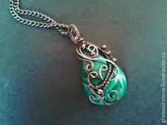 "Pendants handmade.  Fair Masters - handmade pendant with malachite ""Liana"".  Handmade."