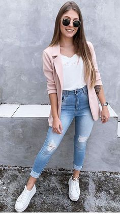 We are with popular street fashion ideas of the summer of 2019 You should look at this street style page prepared for ladies Trend dresses clothes pants shorts mini skirt. Casual Work Outfits, Blazer Outfits, Mode Outfits, Fashion Outfits, Fashion Ideas, Womens Fashion, School Outfits, Fashion Clothes, Ladies Fashion