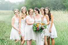 #Woodland / #bohemian inspired #Bride and #Bridesmaids in #whimsical field in Nova Scotia! #love #wedding #bridal #bouquet #forest #beautiful #flowers #whitebridesmaiddresses #flowercrown #cute